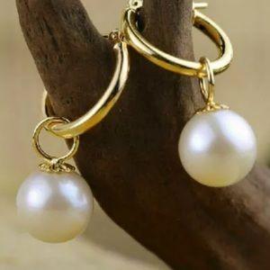 Akoya 10MM Shell Pearl On Gold Hoop Earrings
